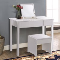 Costway White Vanity Dressing Table Set Mirrored bathroom Furniture W/Stool &Storage Box