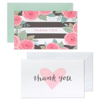 American Greetings Striped Floral and Hearts Thank You Cards and Envelopes, 50ct