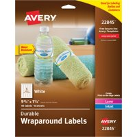 Avery(R) Durable Water-Resistant White Wraparound Labels, 9-3/4 x 1-1/4, Pack of 40 (22845)