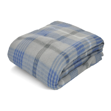 Mainstays Fleece Gray & Blue Plaid Throw Blanket, 50