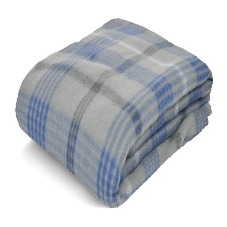 Mainstays Fleece Grey & Blue Plaid Throw Blanket, 1 Each