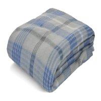 Mainstays Fleece Grey & Blue Plaid Throw Blanket, 1 Each