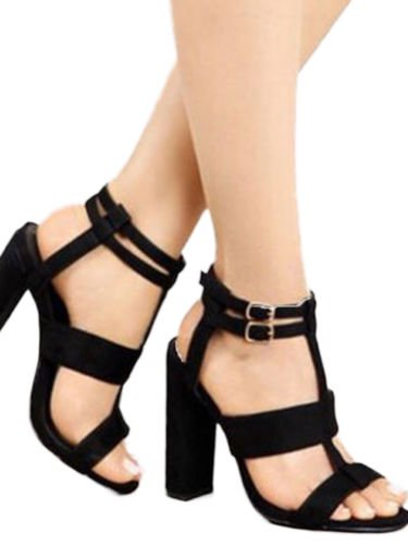 Women High Chunky Block Heels Sandals Buckle Ankle Strappy Slingback Party Shoes - Fetish High Heel Shoes