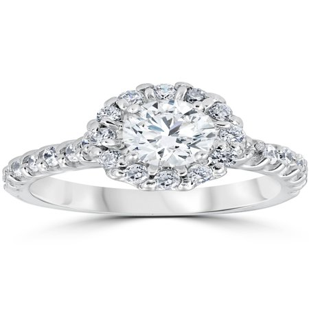 1 3/8 cttw Diamond Halo Round Solitaire Cut Engagement Ring 14K White Gold ()