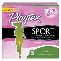 Playtex Sport Unscented Tampons, Super Absorbency, 36 Ct