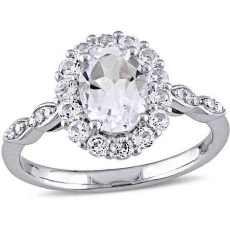 2-1/8 Carat T.G.W. White Topaz and Diamond-Accent 14kt White Gold Vintage Engagement (Diamond Engagement Ring Vintage Setting)