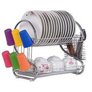 LANDE 2-tier dish rack dish drying rack, kitchen rack bowl rack cup drying rack Dish Drainer dryer tray cultery holder organizer