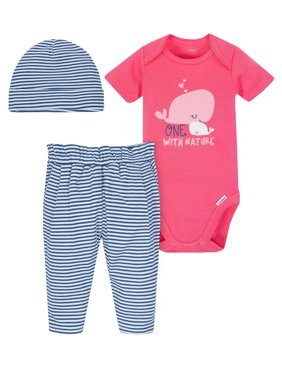 Onesies Bodysuit, Pants and Cap, 3pc Outfit Set (Baby Girls)
