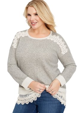 d5ada197128 Product Image Plus Size Long Sleeve Crocheted Hangdown Top. maurices