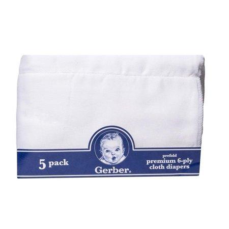 - Gerber Newborn Baby Unisex Prefold White Gauze 6-Ply Cloth Diaper, 5-Pack