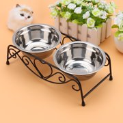 Pet bowl,Ymiko 2PCS Stainless Steel Cat Dog Double Puppy Pet Water Food Feeder Dish Bowls Stand US