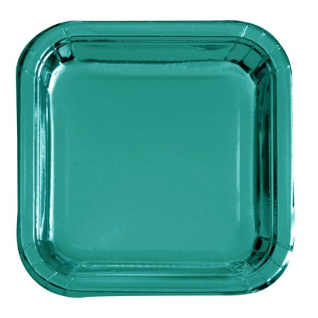 Square Paper Plates, 9.25 in, Teal Foil, 8ct