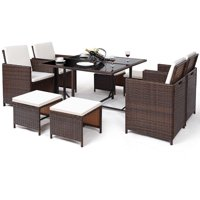 Costway 9 PCS Outdoor Patio Dining Set Rattan Wicker Furniture Garden Cushioned Cover