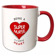 b5144cb91a 3dRose Being a Super Nurse is a work of Heart. Red job quote - nursing
