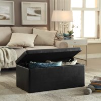 Better Homes & Gardens 30-Inch Hinged Storage Ottoman, Black