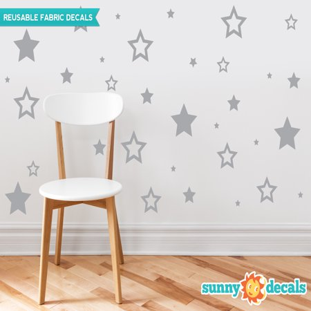 Stars Fabric Wall Decals, Set of 52 Stars in Various Sizes - 19 Color Options-Grey/