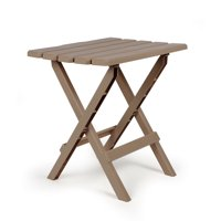 Camco Large Adirondack Portable Outdoor Folding Side Table, Perfect for The Beach, Camping, Picnics, Cookouts and More, Weatherproof and Rust Resistant - Taupe (51887)