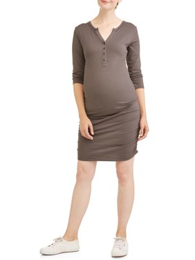 Maternity 3/4 Sleeve Henley Dress with Flattering Side Ruching - Available in Plus Sizes