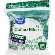 (8 Pack) Great Value Cone Coffee Filters, #2, 1-4 cup, 100 Count