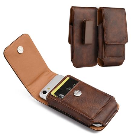 [World Acc] Premium PU Leather Pouch Holster Belt Clip Case For LG Aristo / Risio 2 / Fortune / K4 2017 / K8 2017 / Rebel 2 / Phoenix 3 (Premium Vertical Brown/Brown PU Leather Pouch)