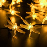 LUCKLED 2PACK Patio Solar Powered String Lights, 30 LED 19.6ft Dragonfly Fairy Outdoor String Lights, Decorative LED String Lights (Warm White)
