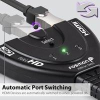 Fosmon 3-Port HDMI Switch 3x1 Auto Switcher Support Full HD 3D 1080P for HDTV TV PS3 Xbox One X / S Blu-Ray