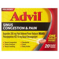 Advil Sinus Congestion & Pain (20 Count) Pain Reliever / Fever Reducer Coated Tablet, 200mg Ibuprofen, Nasal Decongestant, Sinus Pressure