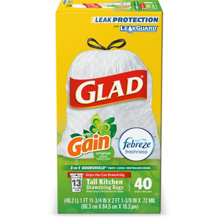 Glad Tall Kitchen Drawstring Trash Bags - OdorShield 13 gal White Trash Bag, Gain  Original with Febreze Freshness - 40 (Glad Tall Kitchen Drawstring)