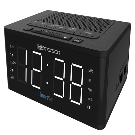 Emerson SmartSet Alarm Clock Radio with Bluetooth Speaker & Charging Station, ER100102