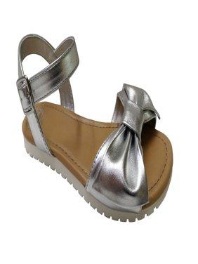 Wonder Nation Toddler Girls' Metallic Bow Sandal
