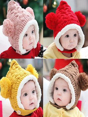 Product Image Girl12Queen Kid Baby Girl Boy Toddler Winter Warm Knitted  Beanie Cap Earmuffs Ball Hat 49beb5579a8
