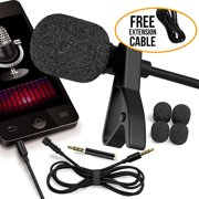 RockDaMic Professional Lavalier Microphone Free Bonus Accessories Best Clip-on System Lapel Mic Condenser for