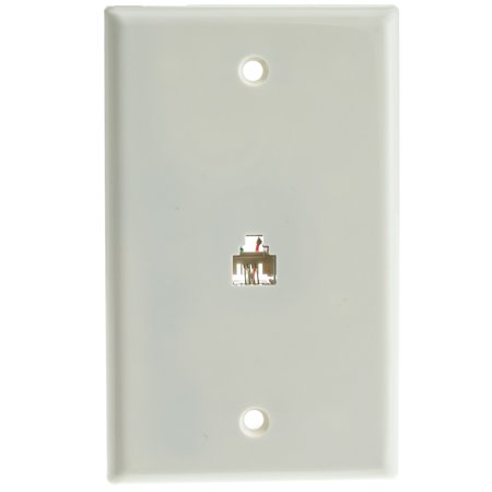 Rj11 Phone Wall Plate - ACL 2 Line Telephone Wall Plate, RJ11, 4 Conductor, White, 1 Pack