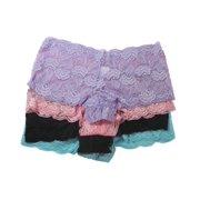 09105da3dd41 Flirtzy Stretchy Floral Lace Tanga Panty Boy Shorts Underwear, S/M, 4 Pack