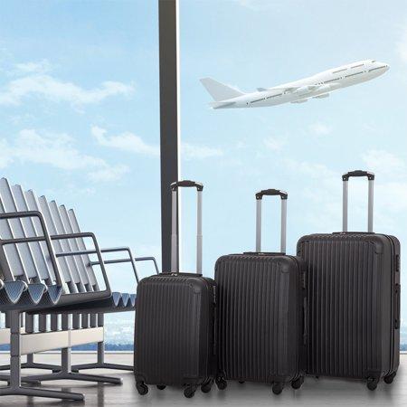 Luggage Set Black 3 Pcs Travel Bag ABS Trolley Suitcase