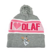 Disney Frozen I Love Olaf Women Ladies Cuffed Pom Beanie Knit Hat Heather Winter