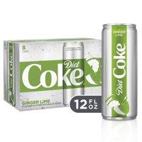 (3 Pack) Diet Coke Slim Can Soda, Ginger Lime, 12 Fl Oz, 8 Count