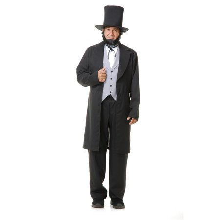 Halloween Abe Lincoln with Hat Adult Costume - Halloween Lincoln Road
