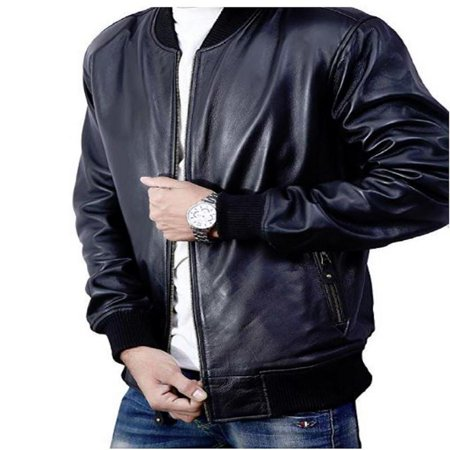 Bomber Jacket men, Black Genuine Lambskin Leather Jacket for Men, Novelty -