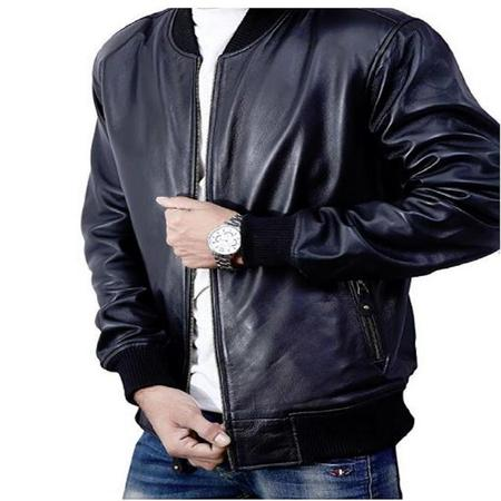 Bomber Jacket men, Black Genuine Lambskin Leather Jacket for Men, Novelty Style