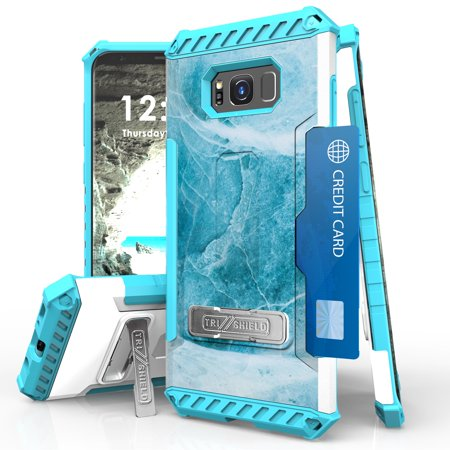 Samsung Galaxy S8+ Plus (2017) Case - Tri-Shield [Military Grade Shockproof Protection] [ID Card Slot] TPU Kickstand Cover - [Aqua Marble], Atom LED