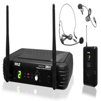 Pyle PDWM1904 - Premier Series Professional UHF Wireless Microphone System, Includes Body-Pack Transmitter, Headset Mic & Lavalier Mic