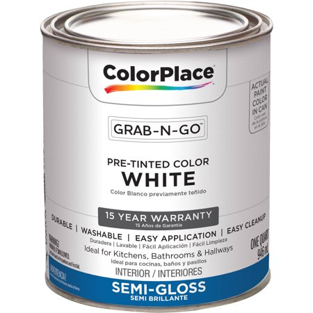 ColorPlace Pre Mixed Ready To Use, Interior Paint, White, Semi-Gloss Finish, 1 Quart