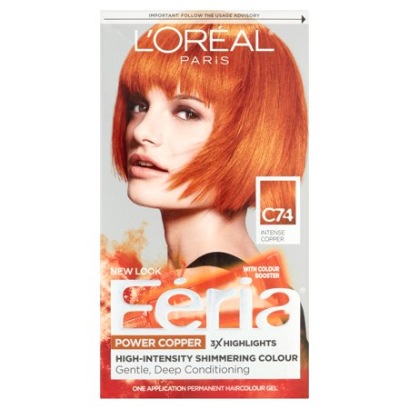 - L'Oreal Paris Feria Power Copper One Application Permanent Haircolour Gel C74 Intense Copper
