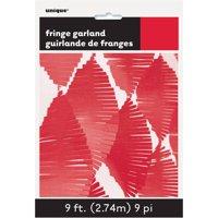 Tissue Paper Fringe Streamer Garland, 9 ft, Red, 1ct
