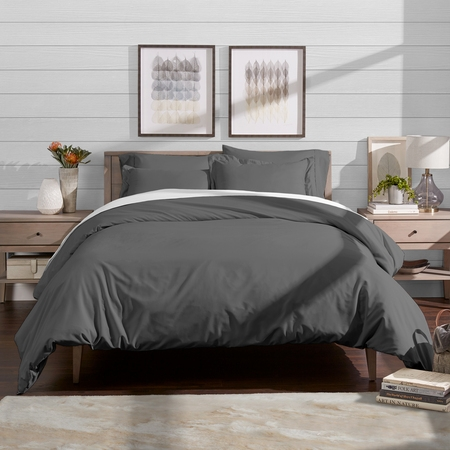 Bare Home Luxury 3 Piece Duvet Cover and Sham Set - Premium 1800 Ultra-Soft Brushed Microfiber - Easy Care, Wrinkle Resistant (Full/Queen, Grey) (full size duvet set for girls)