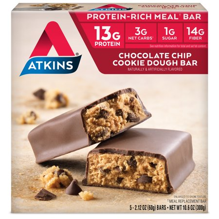 Atkins Chocolate Chip Cookie Dough Bar, 2.12oz, 5-pack (Meal - Diet Bar Cookie