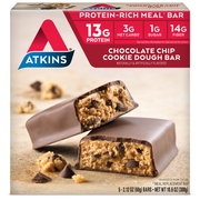 Atkins Choc Chip Cookie Dough Bars, 2.1oz, 5-pack (Meal Replacement)