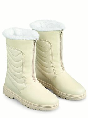 Zip Front Winter Snow Boot with Ice Grips, 9, Cream