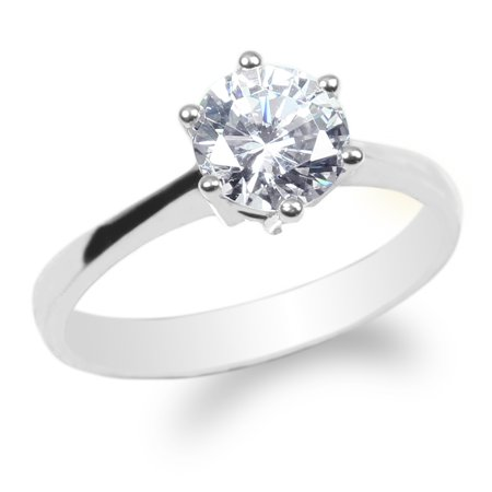 Ladies 10K White Gold 1.1ct Round CZ Solitaire Solid Wedding Ring Size 4-10 10k Solid Gold Ladys Ring